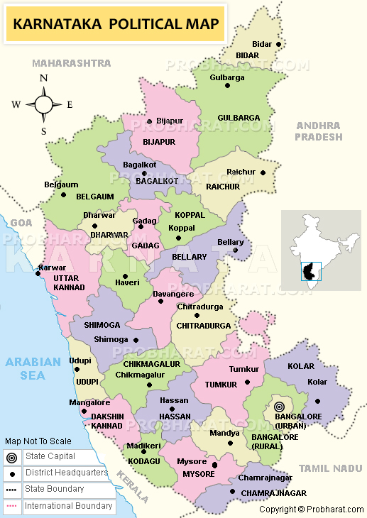 South India Map With States And Districts Map of Karnataka State India